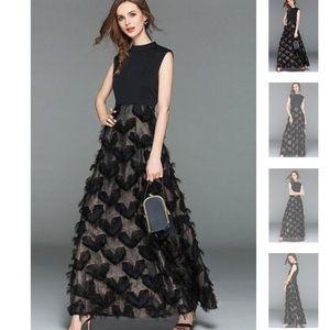 NWT Vicky & Lucas Black Star Tassel Maxi Dress XL